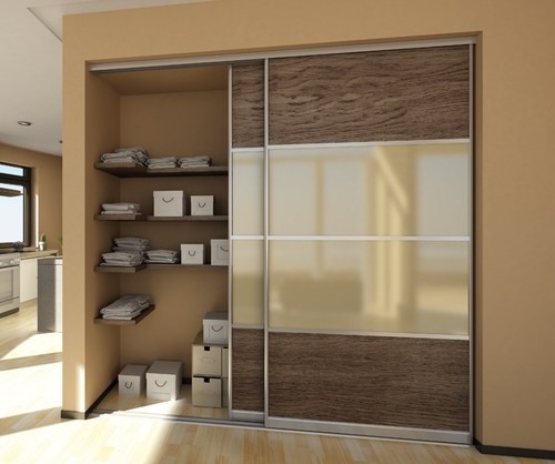 Roupeiros porta deslizante em vidro em madeira para armazenamento