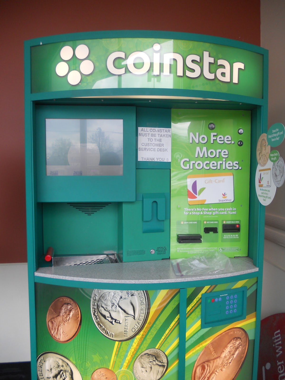 Coinstar kiosk however the day that i used the coinstar