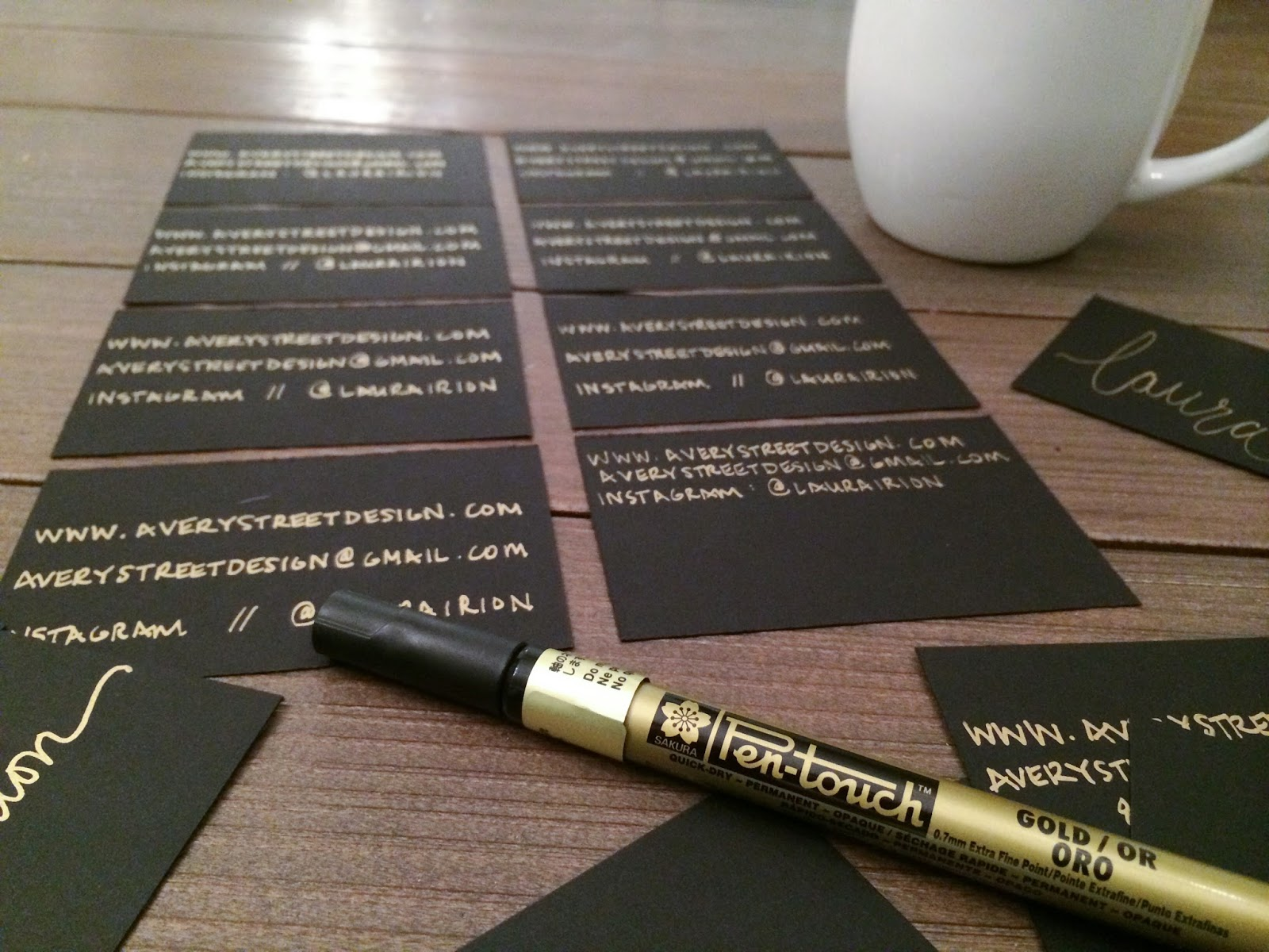 Avery street design blog diy gold calligraphy business cards thats it i realize im going to have to go get real business cards someday but for this occasion they did just fine hopefully this will help you out in magicingreecefo Images
