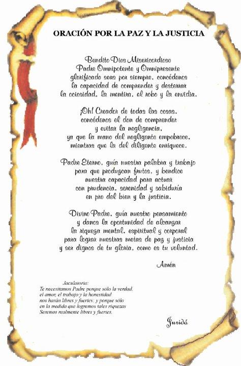 """""""Oracion por La Paz y La Justicia"""""""