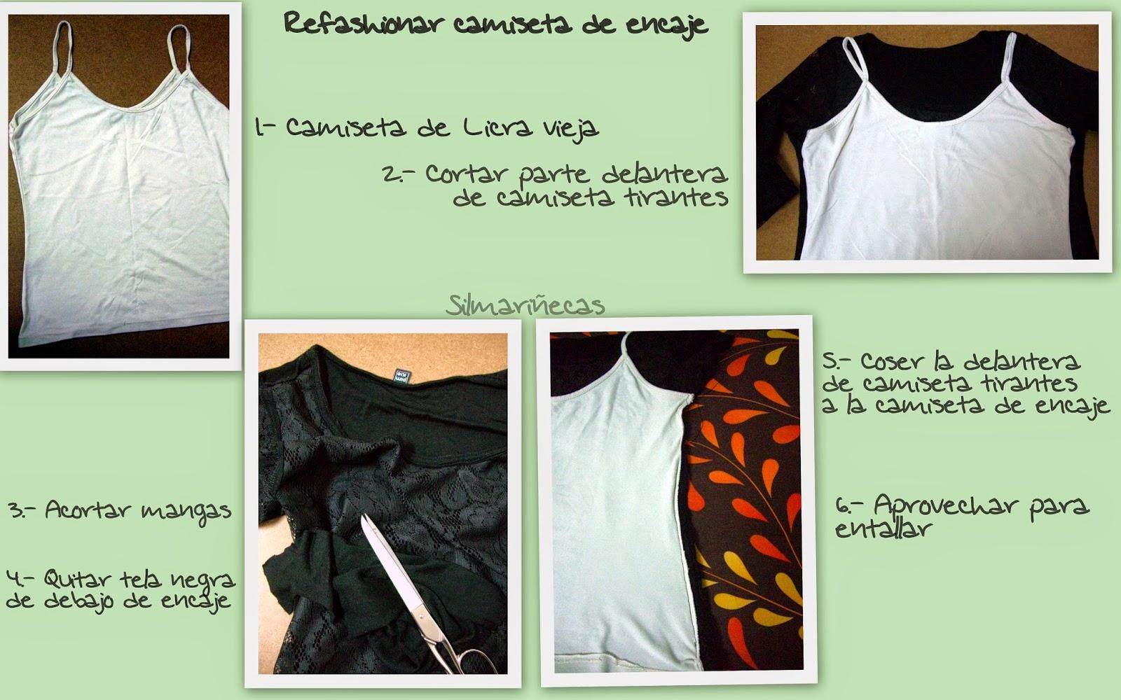cómo refashionar camiseta de encaje - bricomoda-