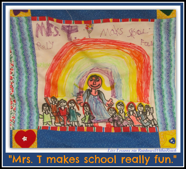 "photo of: Kindergarten Quilt Square ""School's Really Fun"" via RainbowsWithinReach"