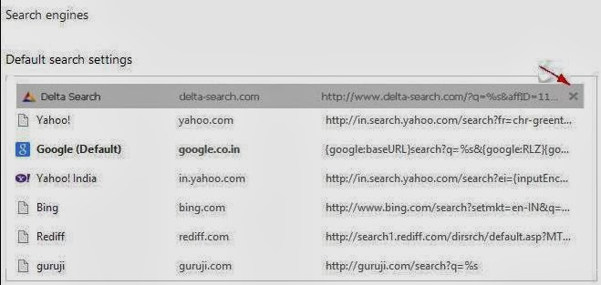 how to get rid of delta search