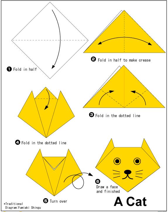 Оригами кошек схемы