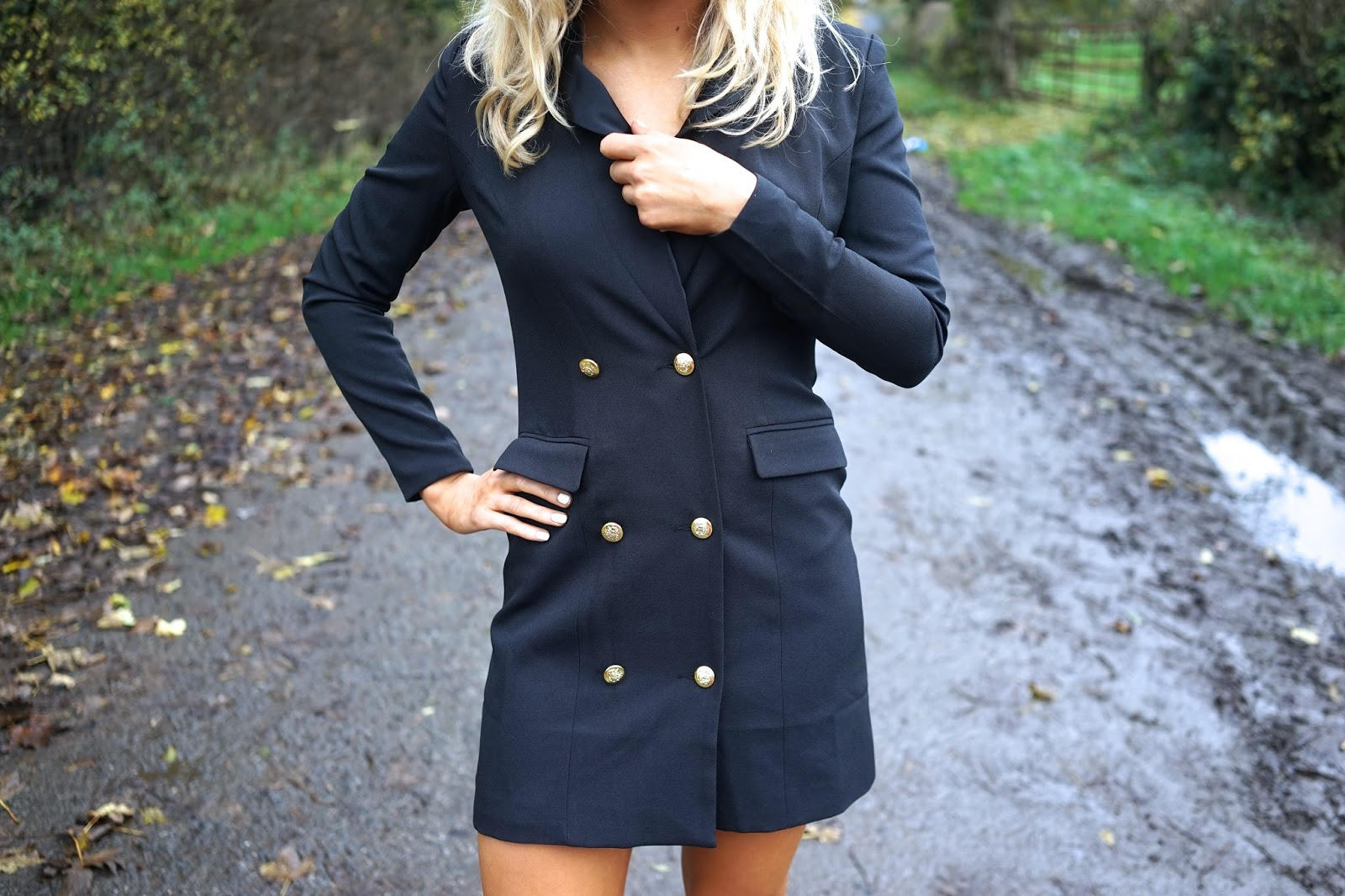 missguided navy tux dress