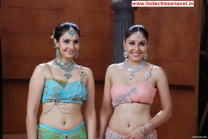 Pooja Chopra and Divya Parameshwaran Hot Navel Show and Hip Show In Rajakota Rahasyam Set 1