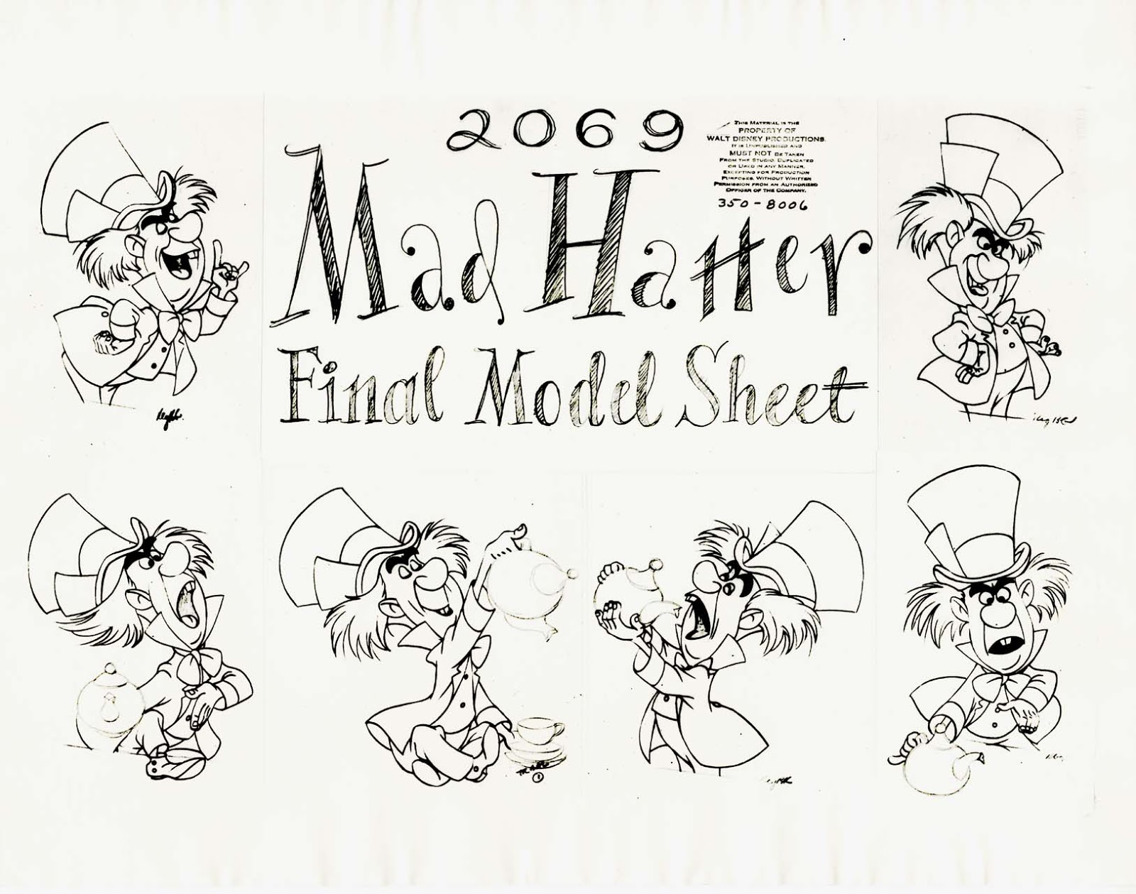 vintage disney alice in wonderland animation model sheet 350 8006