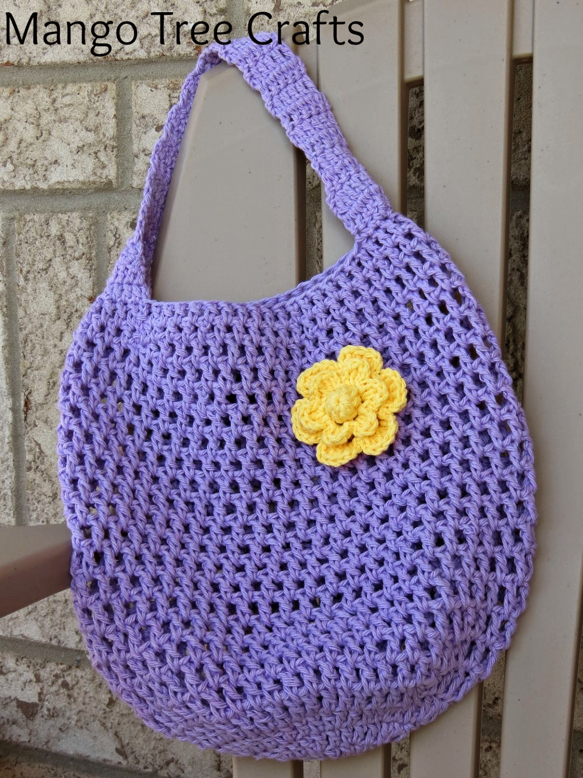 crocheted this market bag using Lily Sugar and Cream Soft Violet ...