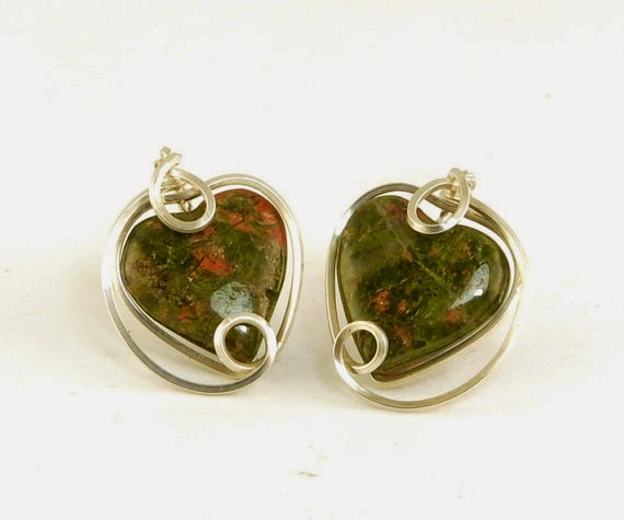 https://www.etsy.com/nz/listing/176414079/heart-stud-earrings-olive-green-unakite