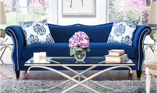 Jewel Tone Blue Velvet Othello Couch Overstock.com