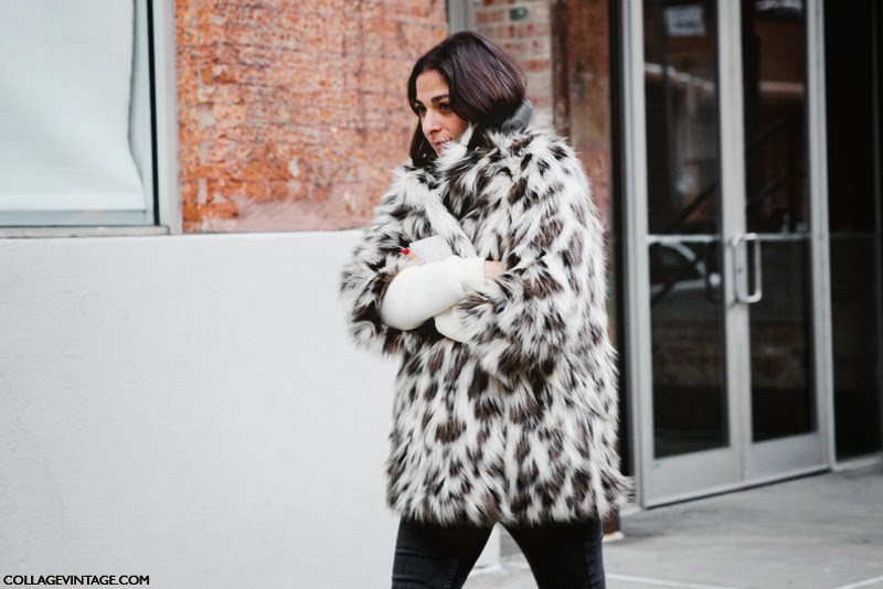 capucine safyurtlu - new york fashion week 2014 - fur coat