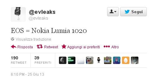 Secondo la fonte Twitter Evleaks, il prossimo Nokia EOS sarà Lumia 1020