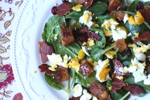 Breakfast Salad with Cinnamon Toast Croutons recipe by Barefeet In The Kitchen
