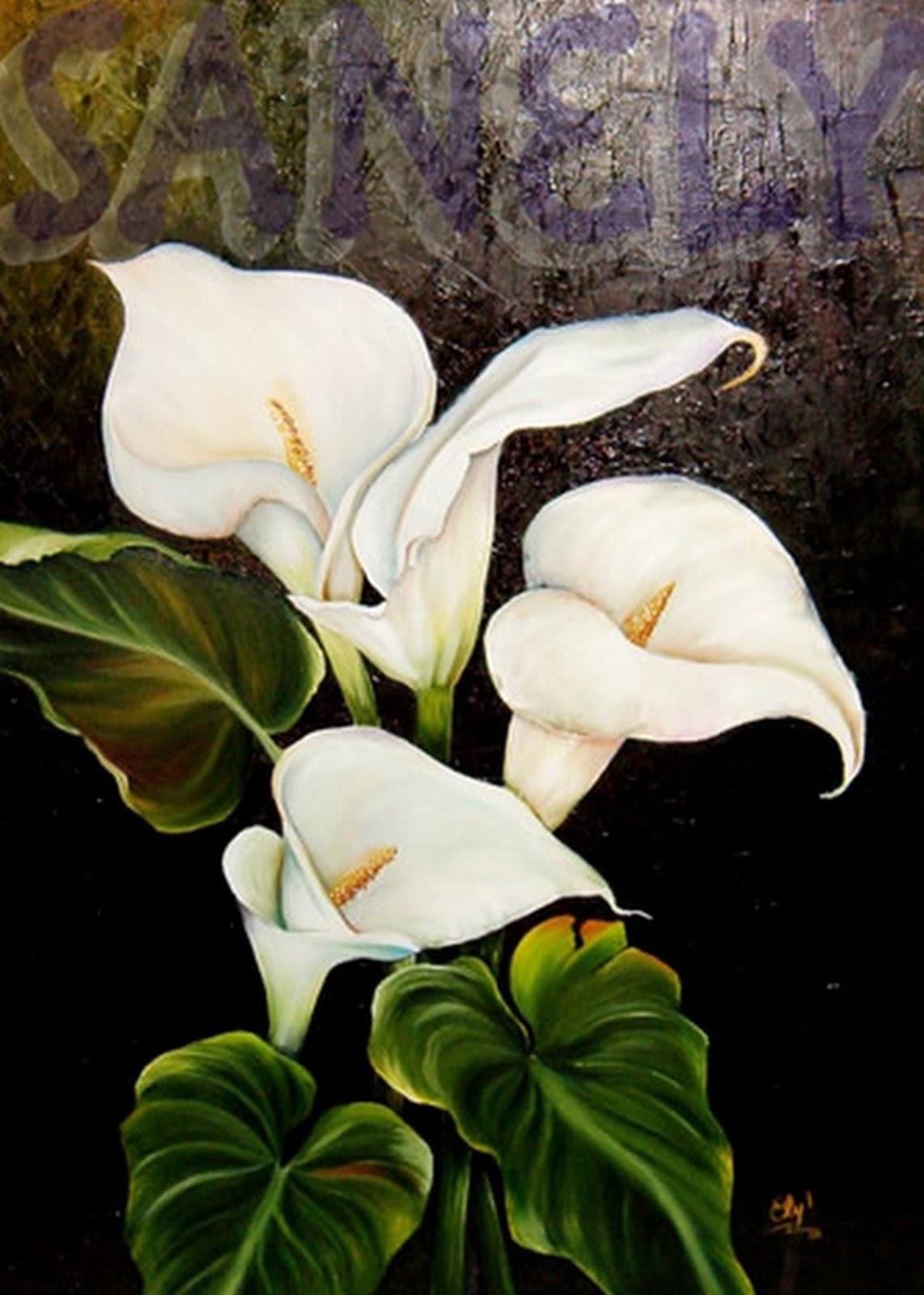 cuadros de flores pinturas al oleo de flores lindas pinturas