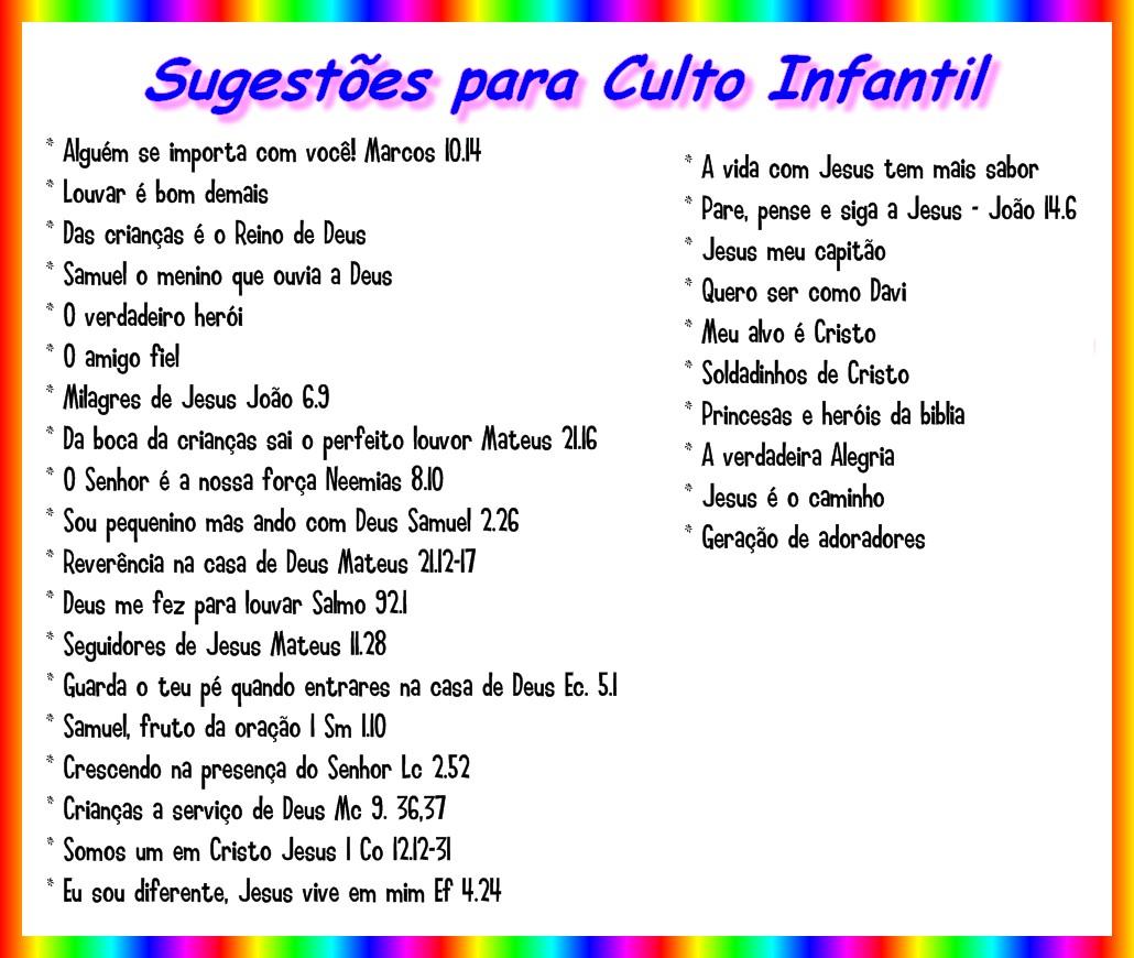 Ministerio Gospel Infantil: Tema para Culto Infantil