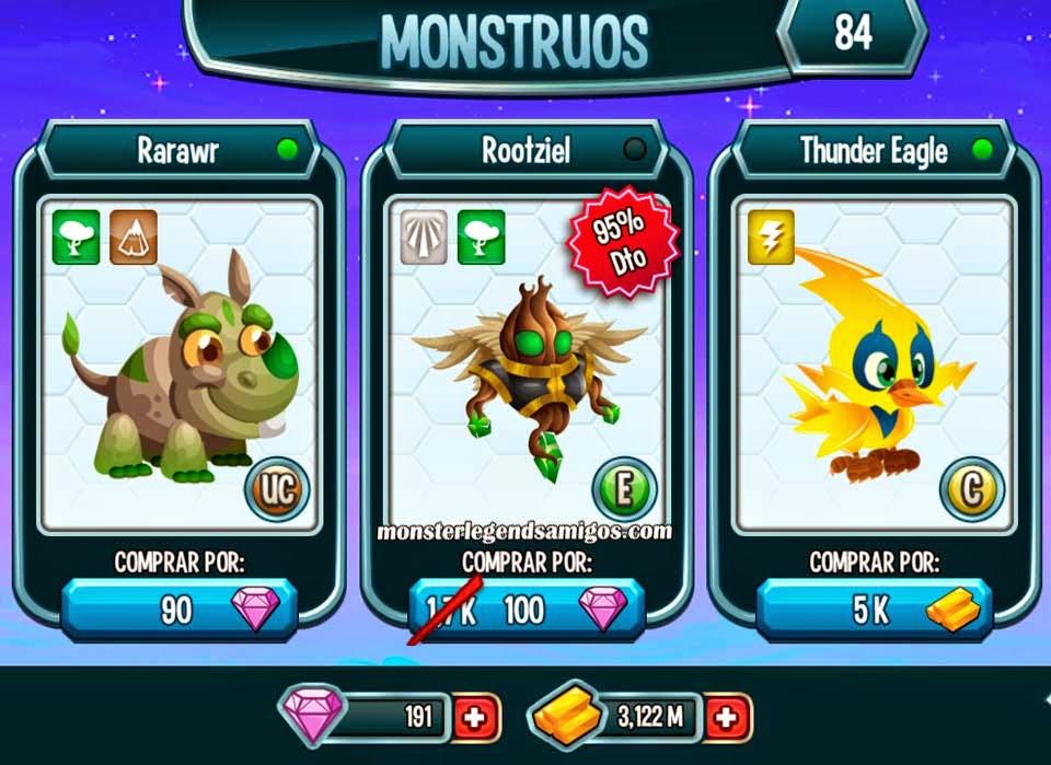 imagen del monstruo rootziel en oferta especial de monster legends