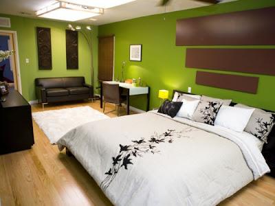 Camera da letto design esotico colore pittura verde