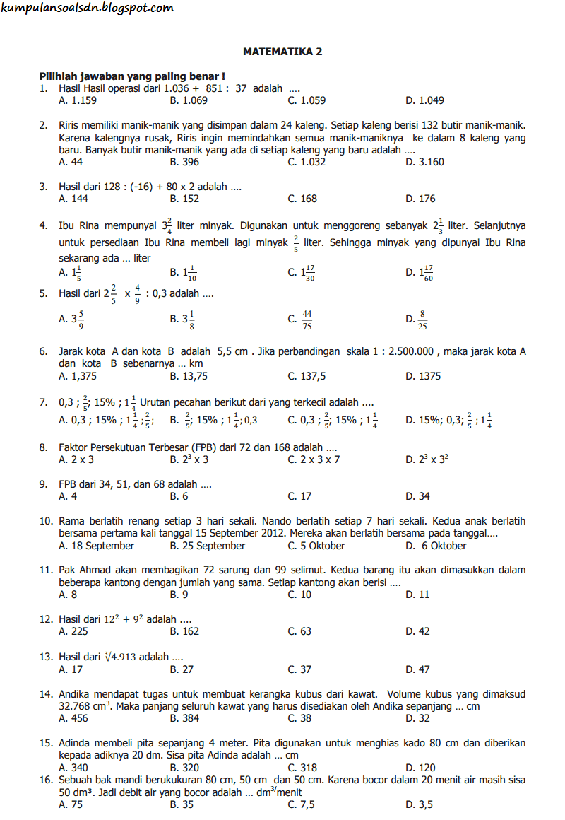 Soal UN Matematika 6 SD dan Kunci Jawaban US TA 2013-2014
