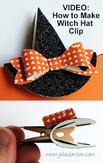 VIDEO: Halloween Pillow Box Treat + Witch's Hat Clip Tutorial #halloween #stampinup www.juliedavison.com
