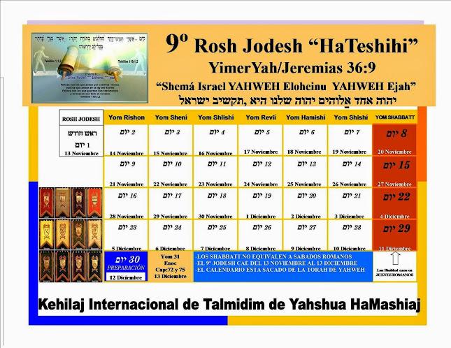 CALENDARIO 9º JODESH/MES