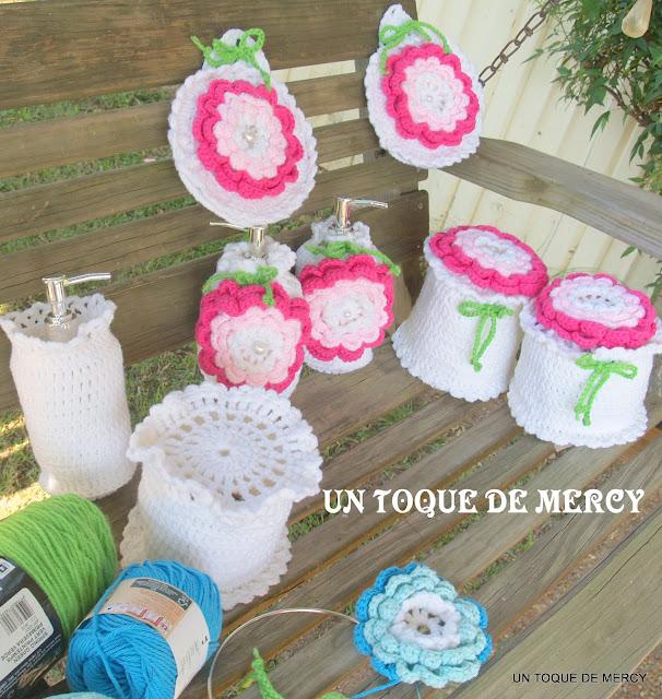 Decoracion De Baño Manualidades:DE MERCY: SET PARA BANO DE CROCHET//INCLUYE EL FORRO DEL EMBASE PARA