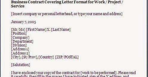 Agreement Cover Letter Format