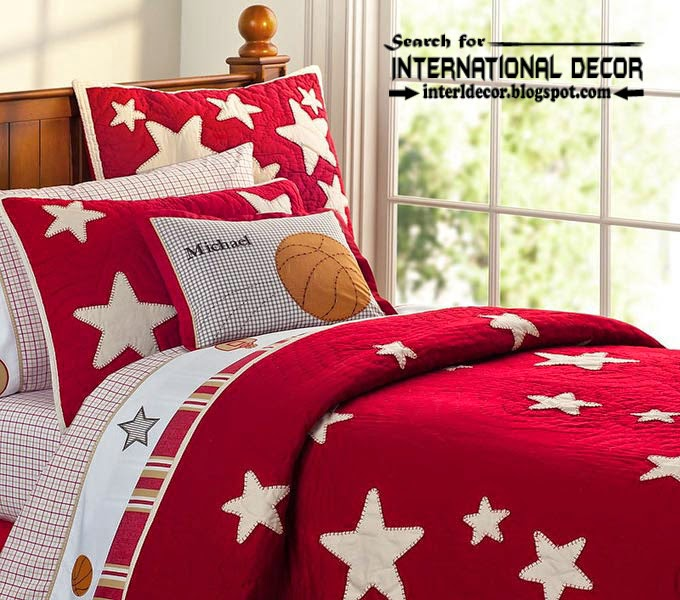 color combinations with red color in the interior, red linens for kids bedroom