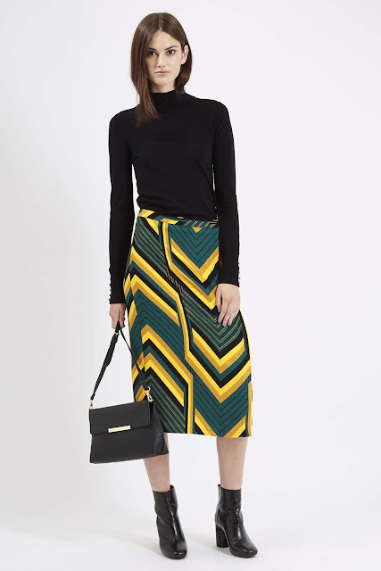 green chevron skirt, striped midi skirt,