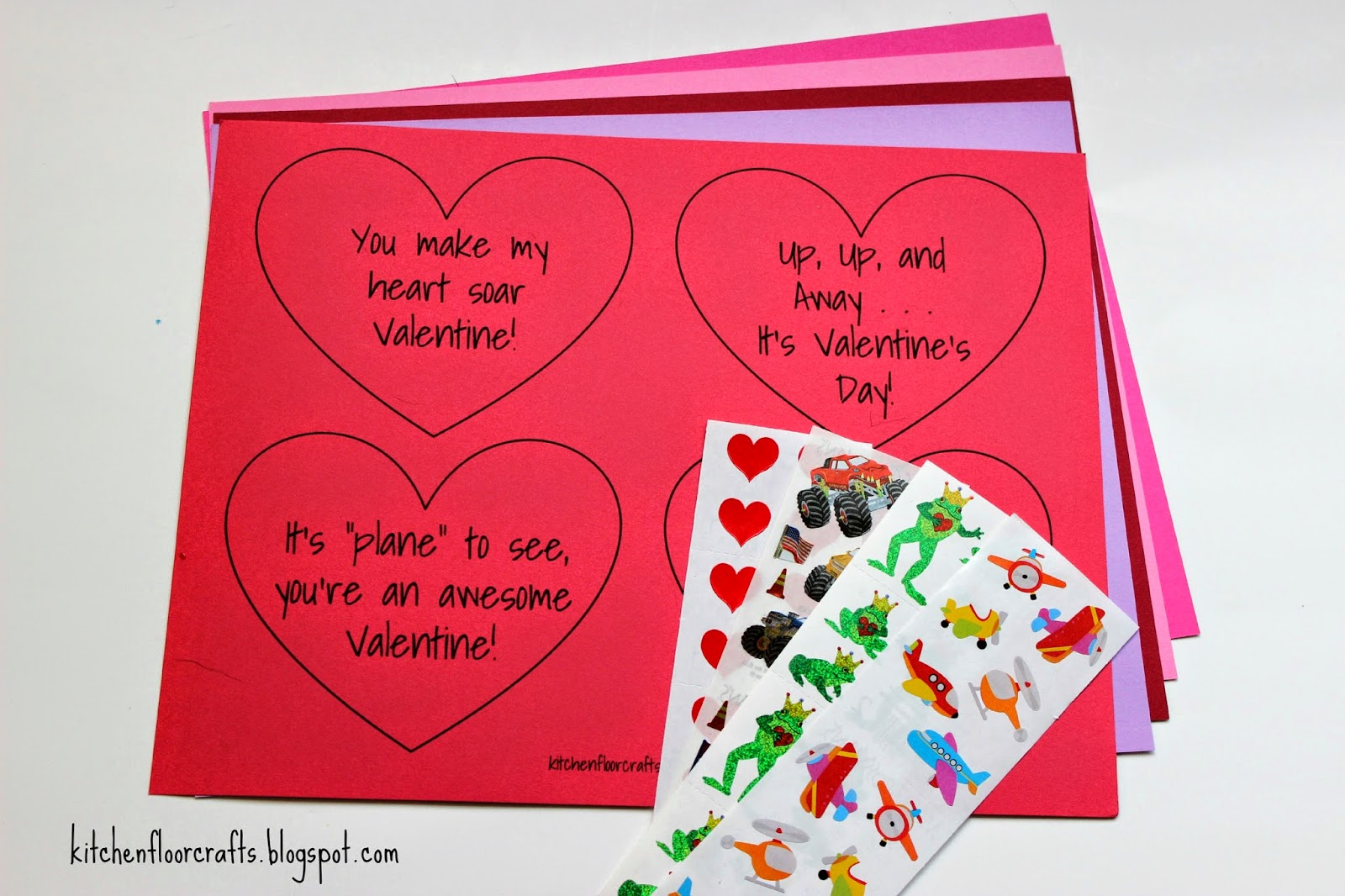 Kitchen floor crafts simple sticker valentines with free which matched some of the boys current interests airplanes frogs and monster trucksrace cars click on the links below to get your own free kristyandbryce Gallery