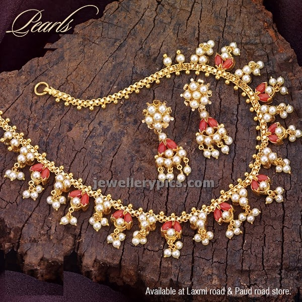 coral pearls necklace set reversible design by PNG diamonds