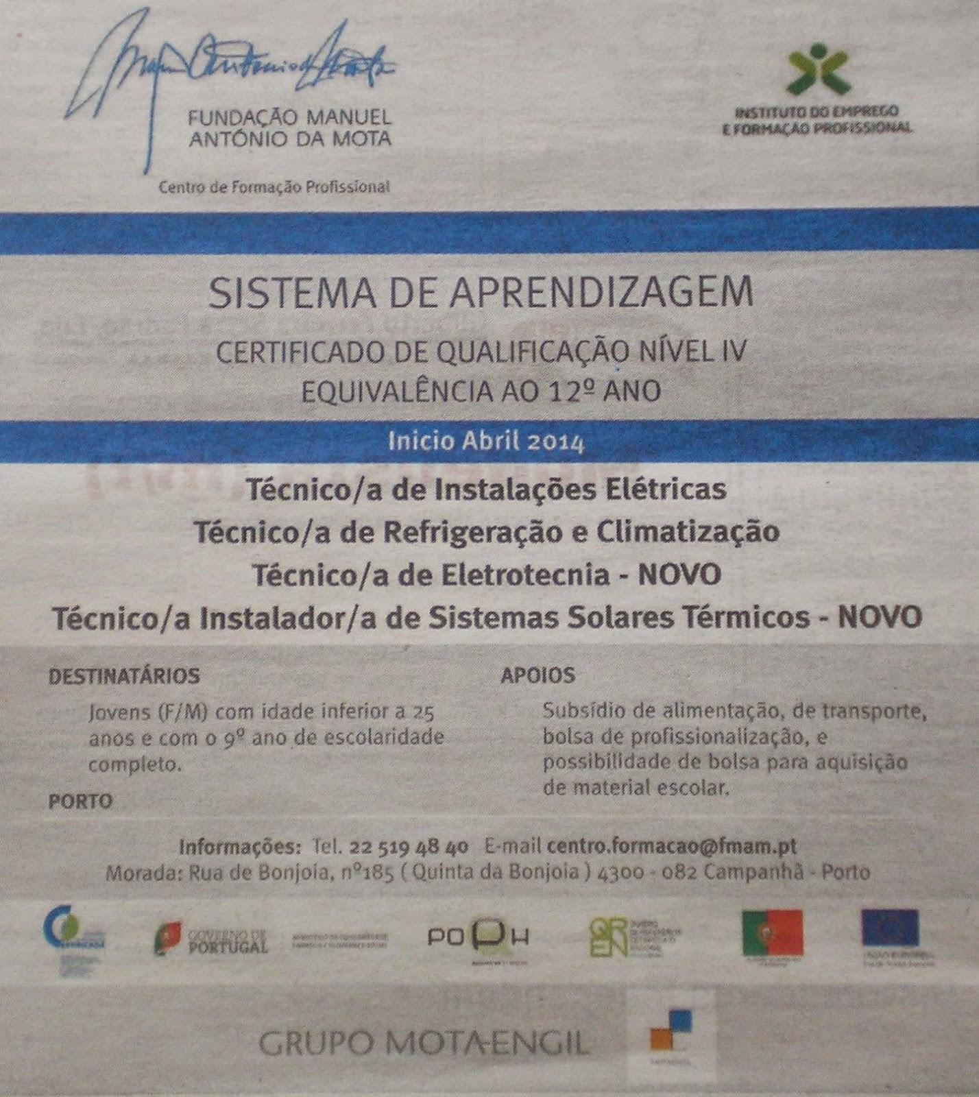Cursos de Aprendizagem nível IV no Porto – 2014 (equivalentes ao 12º ano)