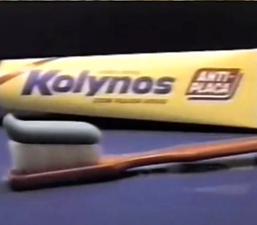 Propaganda do creme dental Kolynos, apresentando sua nova fórmula em 1988.