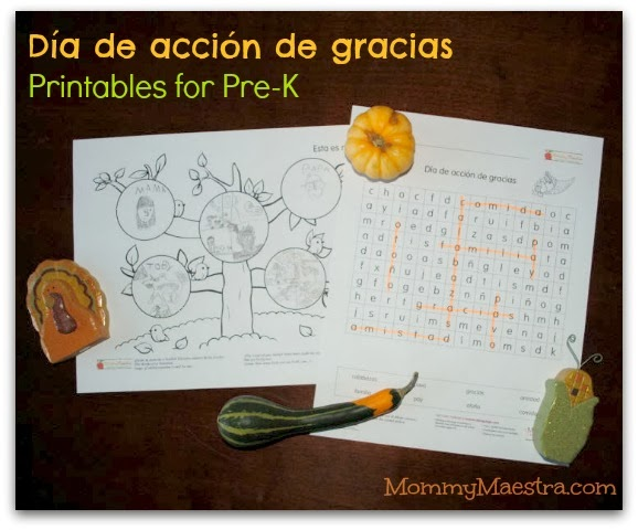 Preschool Thanksgiving printables in Spanish