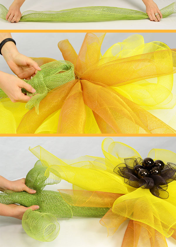Sunflower tutorial- Add a green stem on the bottom of the flower.