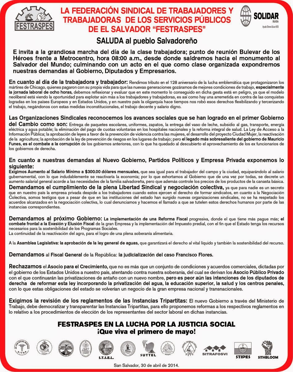 Comunicado FESTRASPES por primero de mayo