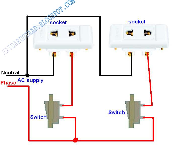 how to control 2 sockets by 2 switches? electrical and electronic Lamp Socket Types