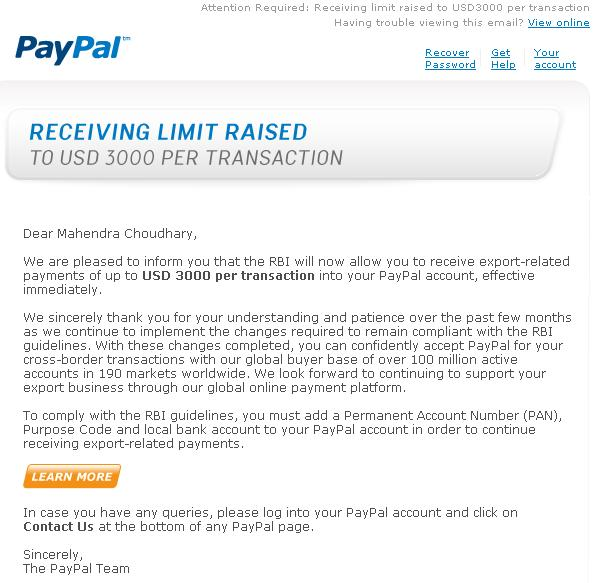 pay pal limits