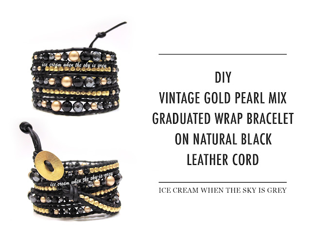 DIY Bracelet: Swarovski Vintage Gold Pearl Graduated Mix On Natural Black Leather (Chan Luu Women's Style 5 Wrap)