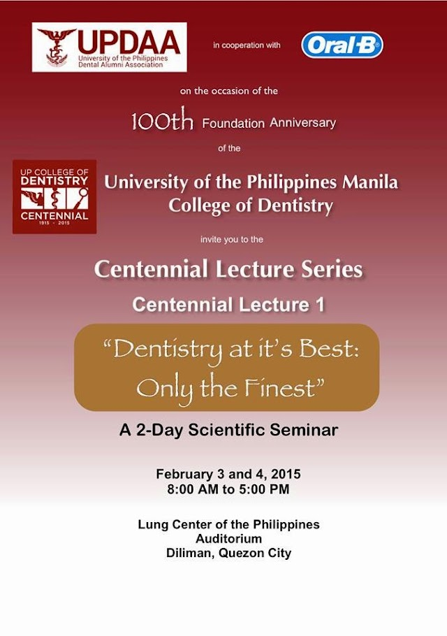 UPCD Centennial Lecture Series - I