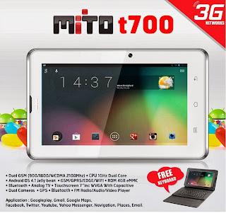 Mito T700 Tablet 3G Android Jelly Bean harga dibawah 1.5 juta