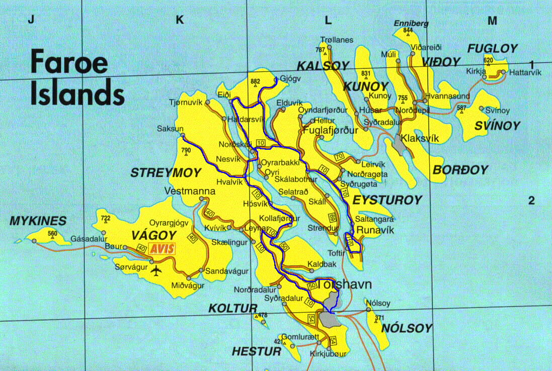 The Faroes Islands Map