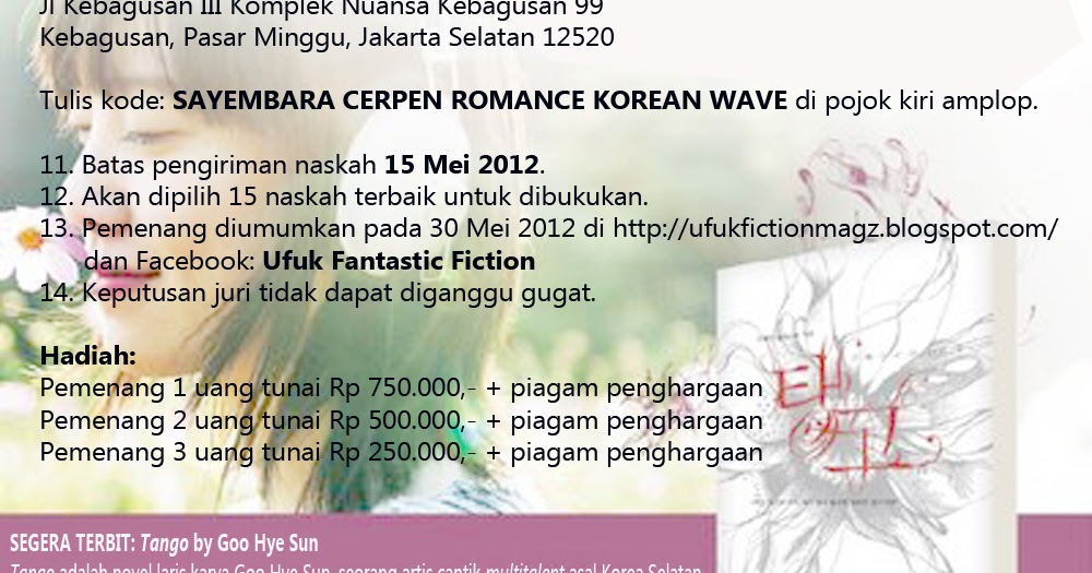 SAYEMBARA MENULIS CERPEN ROMANCE KOREAN WAVE 2012 - Ufuk ...