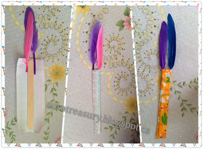 How to make Duct Tape Bookmarks with feathers and popsicle