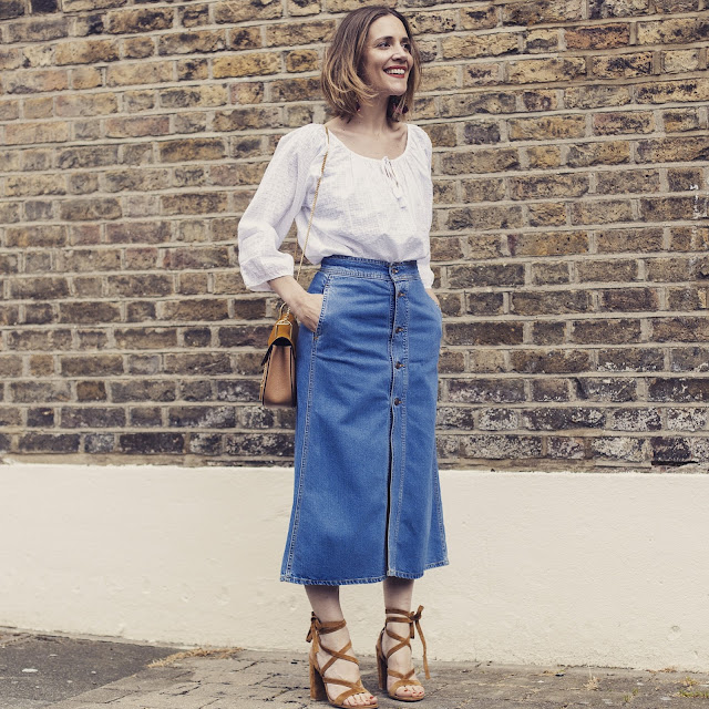 What to wear with a midi denim skirt – Modern trending things ...