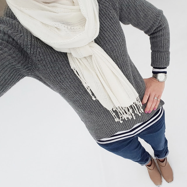 Gap Sweater (similar) // Gap Striped Tee // Forever 21 Scarf // 7 For All Mankind Josefina Boyfriend Jeans - on sale for $63, regular $178! // Cole Haan Calixta Booties // Michael Kors Runway Watch
