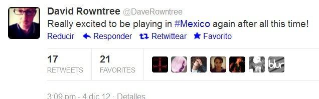 daverowntree twitter, blur mexico 2013, blur tour 2013, blur tickets