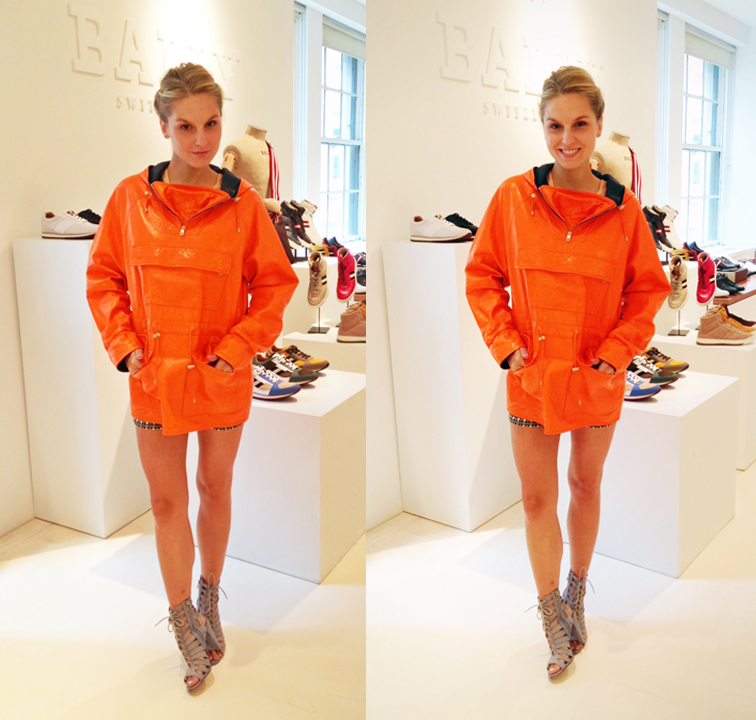 BALLY SWITZERLAND ORANGE LEATHER PONCHO SPRING 2013