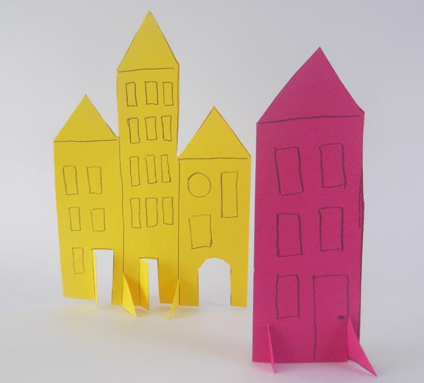 πόλη, χαρτί, χειροτεχνίες, παιδική τέχνη, παιδικές κατασκευές από χαρτί