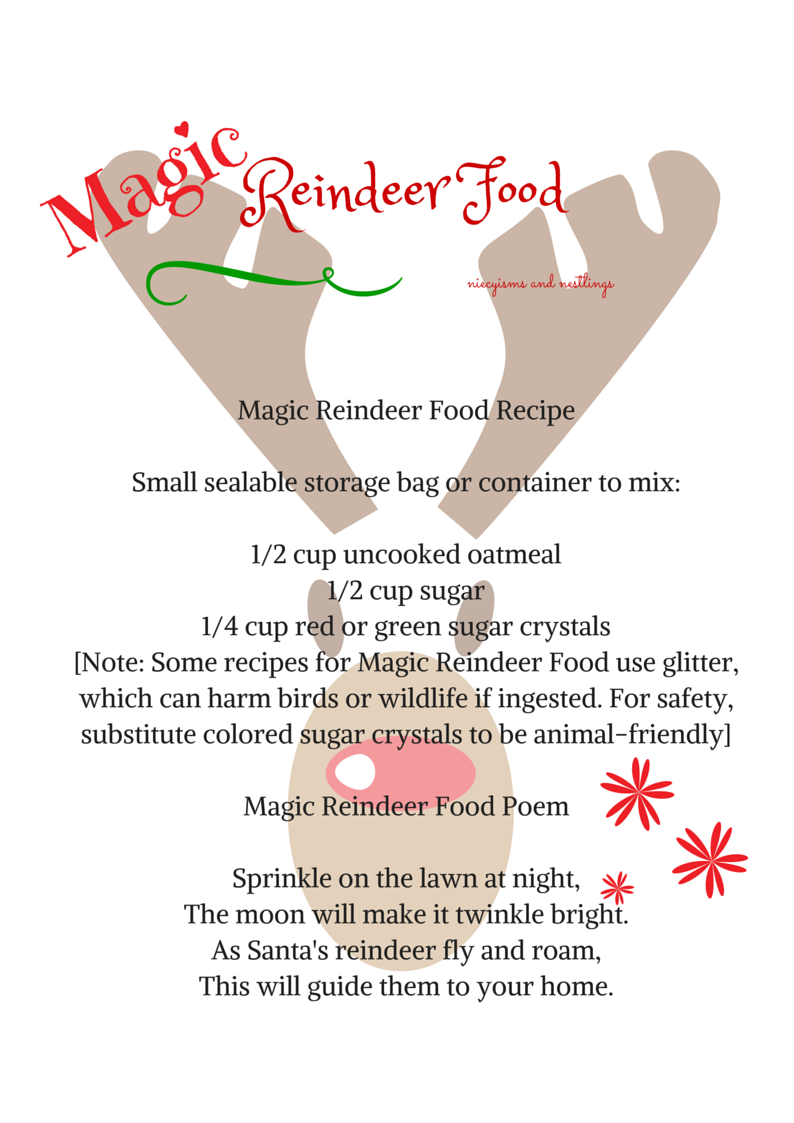 Magic Reindeer Food Recipe And Poem