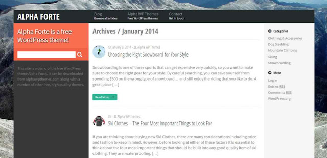 Alpha Forte - free UI WordPress theme